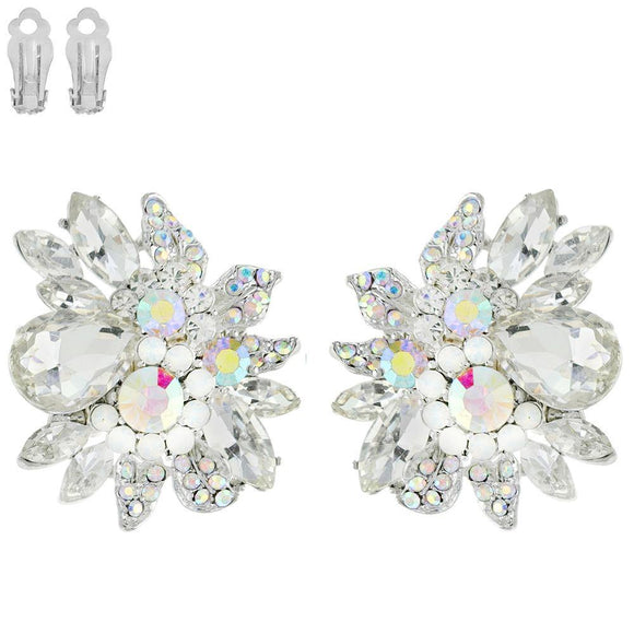 SILVER CLEAR AB STONES CLIP ON EARRINGS ( 11212 RCA ) - Ohmyjewelry.com