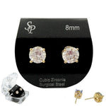 8MM GOLD CLEAR CZ STUDS ( 1758 )