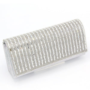 Silver Fabric Evening Handbag with Stripe Design Clear Stones ( 10004 )