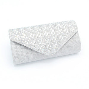 Silver Fabric Evening Handbag with Clear Rectangle and AB Rhinestones ( 10119 )