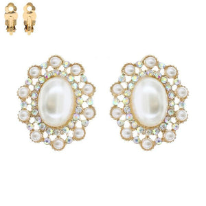 "1.4"" Cream Pearl Oval and AB Rhinestone Clip On Earrings ( 032 )"