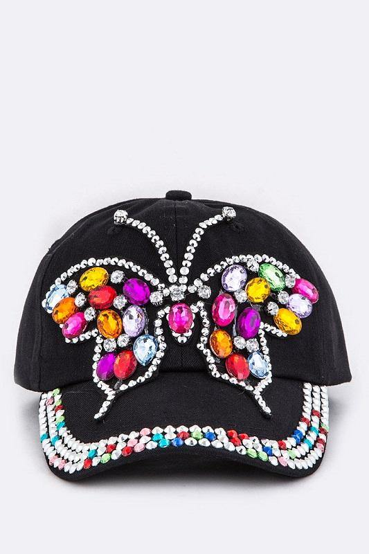 Black Cap Hat with Multi Color Stone Butterfly ( 8605 )