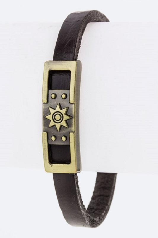 Dark Brown Leather Magnetic Bracelet with Gold Sun Design ( 2060 )