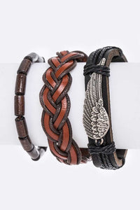 Multi Layered Leather and Beaded Bracelet Set with Angel Wing Charm ( 8128 )