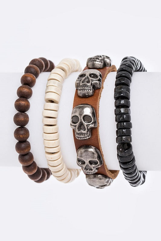 Multi Layered Leather and Beaded Bracelet Set with Skull Charms ( 8201 )