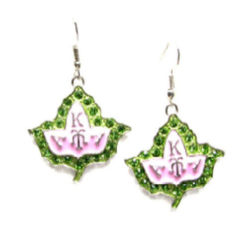Pink Enamel and Green Rhinestone Outline of Ivy Leaf AKA Sorority Earrings