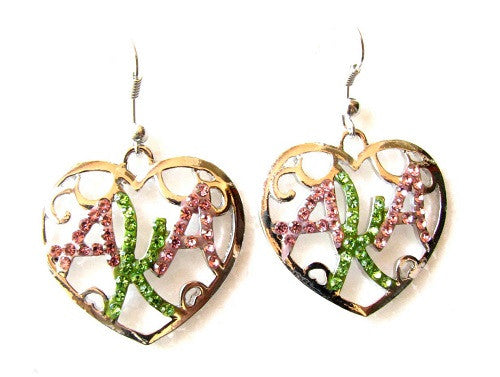 Pink and Green AKA Sorority Rhinestone Heart Dangling Earrings