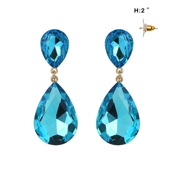 GOLD DROP EARRINGS AQUA STONES ( 148 GAQ )