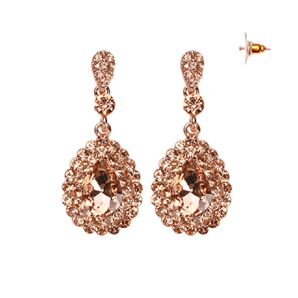 DANGLING ROSE GOLD EARRINGS WITH PEACH STONES ( 154 )
