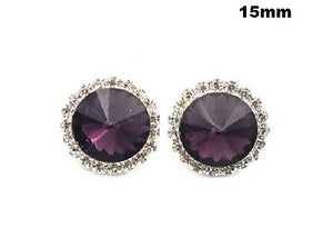 Purple and Clear Stone Round Stud Earrings with Silver Accents