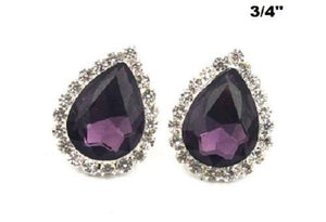 "3/4"" Purple Teardrop Stud Earrings ( 0342 )"