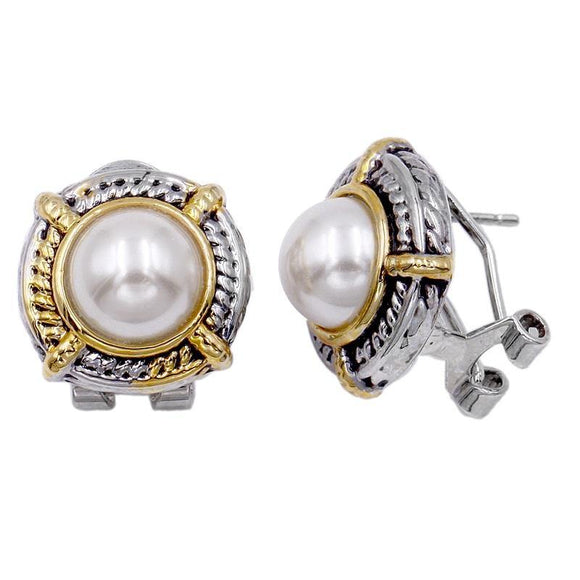 SILVER GOLD CLIP ON EARRINGS CREAM PEARLS ( 4019 2T )