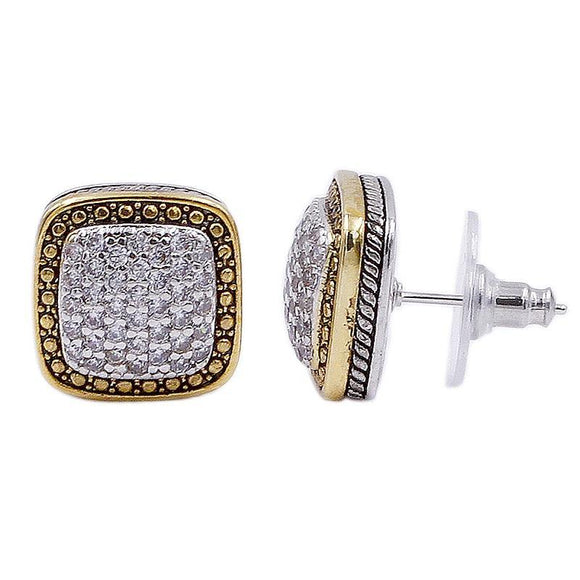 SILVER GOLD EARRINGS CLEAR CZ CUBIC ZIRCONIA STONES ( 4108 2T )