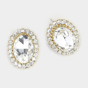 "3/4"" Oval Gold Setting Clear Rhinestone Stud Earrings"