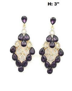 "3"" Long Clear and Purple Rhinestone Chandelier Earrings in Gold Setting ( 0322 )"
