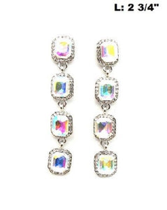 "2.75"" Silver AB and Clear Rhinestone Chandelier Earrings ( 0324 )"