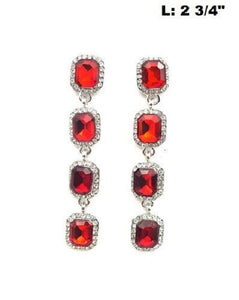"2.75"" Silver Red and Clear Rhinestone Chandelier Earrings ( 0324 )"