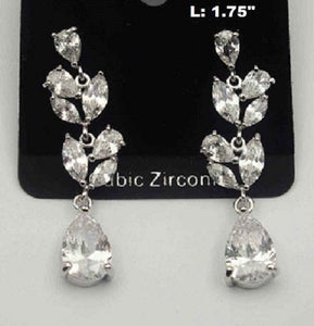 "1.75"" Long CZ Cubic Zirconia Teardrop Chandelier Earrings ( 0336 )"