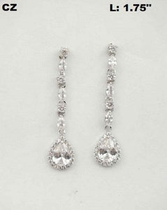 "1.75"" Long CZ Cubic Zirconia Tear Drop Chandelier Earrings ( 0407 )"