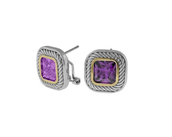 TWO TONED EARRINGS PURPLE CZ CUBIC ZIRCONIA FRENCH POST ( 6523 ) - Ohmyjewelry.com