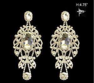 "4.75"" Silver Clear Large Rhinestone Chandelier Earrings ( 1076 )"