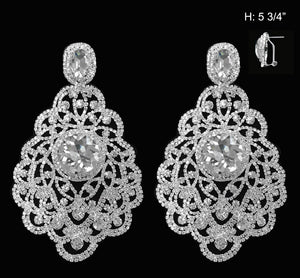 "5.75"" Large Silver Clear Chandelier Earrings ( 1091 )"