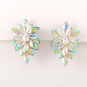 "2.25"" AB Stone Pointy Clip On Earrings with Silver Accents ( 1617 )"