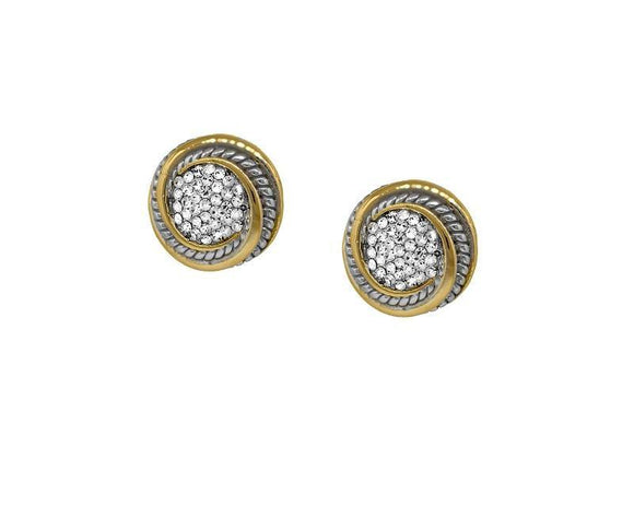 Two Tone Round Shape Clear Stone Stud Earrings ( 7149 )