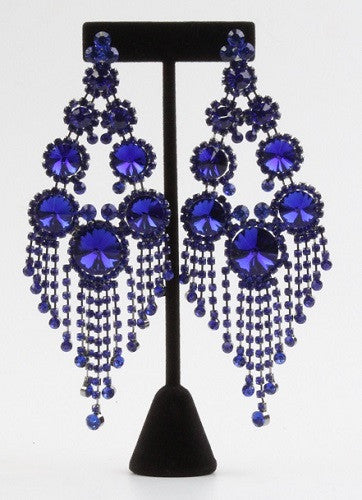 Royal Blue Large Round Stones and Fringe Chandelier Clip On Earrings