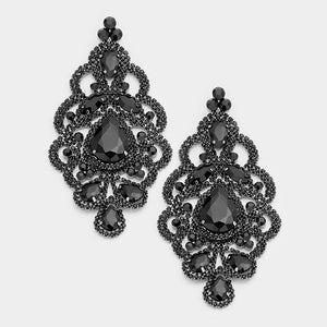 "4 1/2"" Long Large Jet Black Teardrop and Marquise Statement Clip On Earrings ( 1548 )"