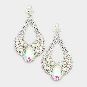 "4.5"" Oversized AB Rhinestone Cut Out Teardrop Chandelier Clip On Earrings In Silver Setting ( 2592 )"