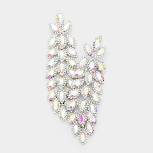 "4.25"" Silver AB Marquise Rhinestone Chandelier Evening CLIP ON Earrings ( 3048 )"