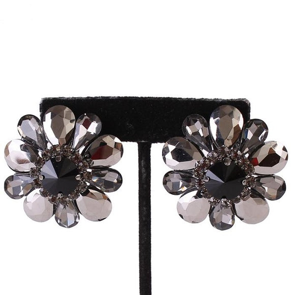 Large Black and Hematite Gray Flower Clip On Earrings ( 4975 )