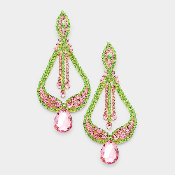 Large Gold Pink and and Green Teardrop Rhinestone Chandelier Earrings ( 7190 )