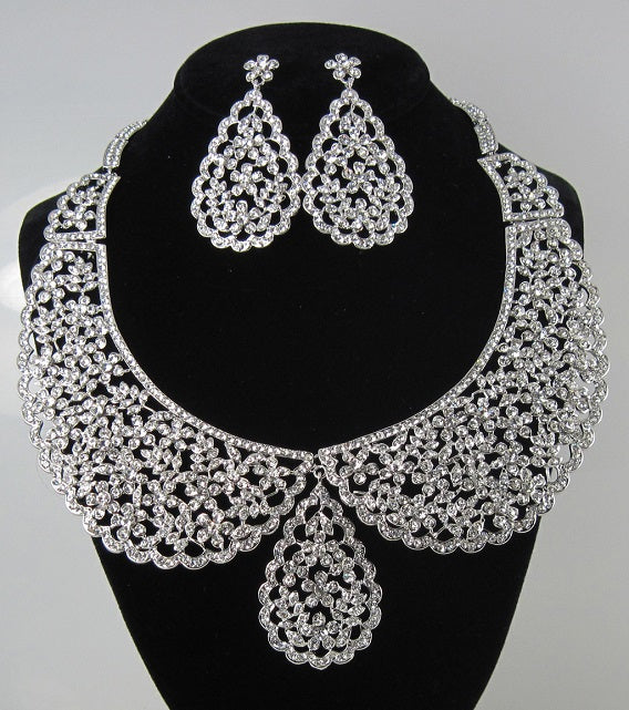Silver Clear Rhinestone Formal Necklace Set ( 7241 )