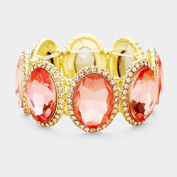 GOLD LIGHT PEACH Oval Formal Stretch Bracelet ( 0083 )