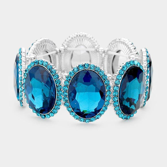 SILVER BLUE Oval Formal Stretch Bracelet ( 0083 )