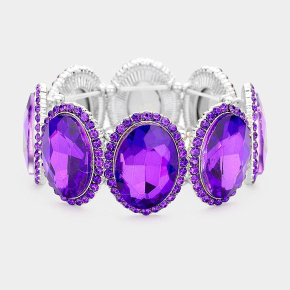SILVER PURPLE Oval Formal Stretch Bracelet ( 0083 )