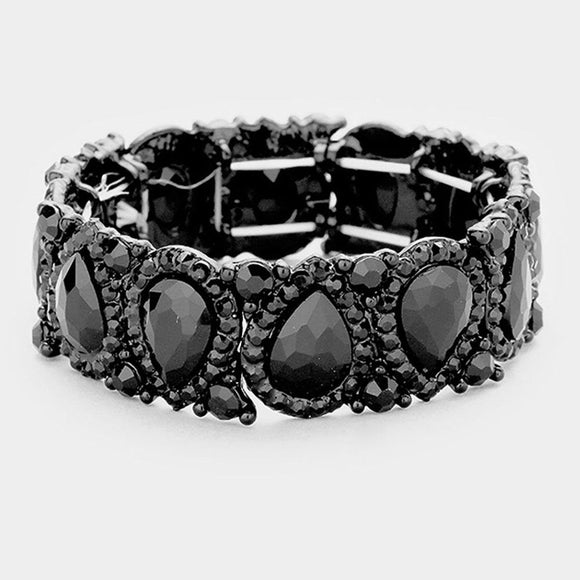JET BLACK Teardrop Rhinestone Stretch Bracelet in BLACK Setting ( 1094 )