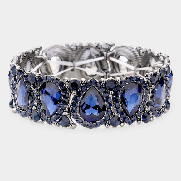 NAVY BLUE Teardrop Rhinestone Stretch Bracelet IN SILVER SETTING ( 1094 )