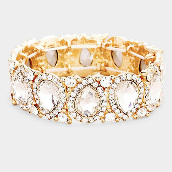 CLEAR Teardrop Rhinestone Stretch Bracelet in GOLD Setting ( 1094 )