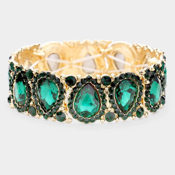 GREEN Teardrop Rhinestone Stretch Bracelet in GOLD Setting ( 1094 )