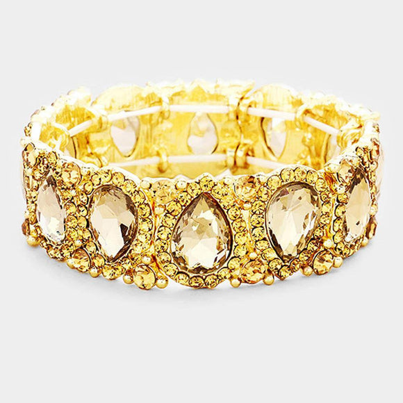 LIGHT TOPAZ Teardrop Rhinestone Stretch Bracelet in Gold Setting ( 1094 )
