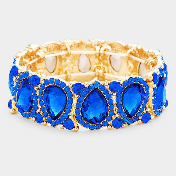 ROYAL BLUE Teardrop Rhinestone Stretch Bracelet IN GOLD SETTING ( 1094 )