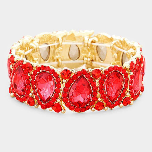 RED Teardrop Rhinestone Stretch Bracelet in GOLD Setting ( 1094 )