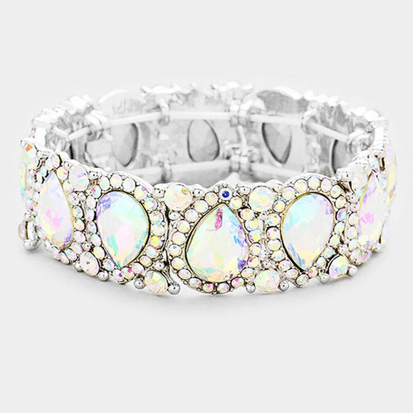AB Teardrop Rhinestone Stretch Bracelet in SILVER Setting ( 1094 )
