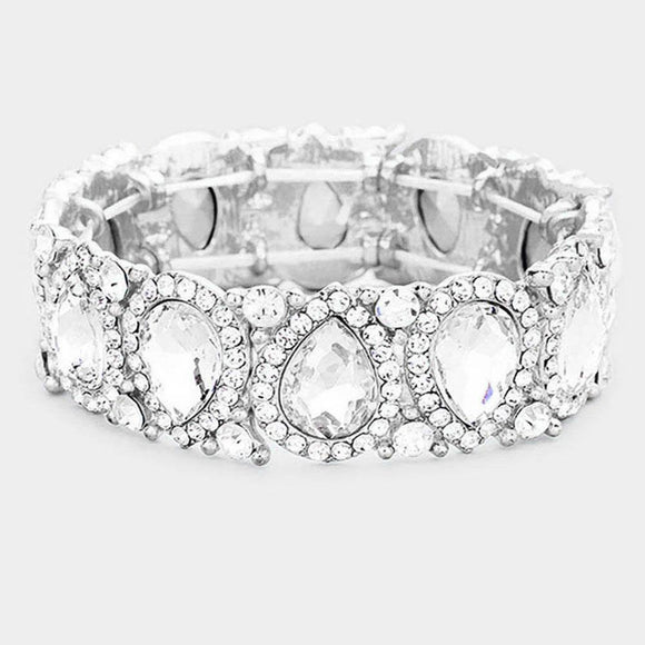 CLEAR Teardrop Rhinestone Stretch Bracelet in SILVER Setting ( 1094 )