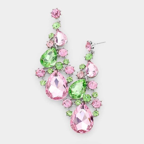 SILVER PEAR PINK GREEN RHINESTONE VINE EARRINGS ( 1327 PKGR ) - Ohmyjewelry.com