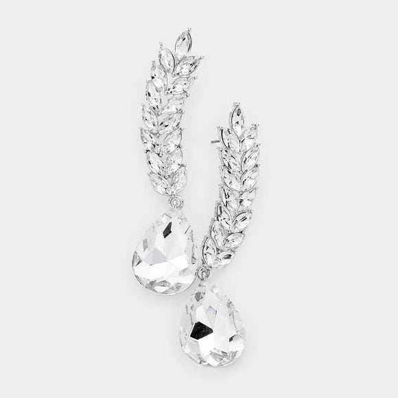 SILVER CLEAR STONES VINE MARQUISE EARRINGS ( 1360 )