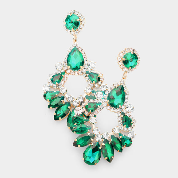 GOLD EMERALD CLEAR CHANDELIER EARRINGS ( 2133 )